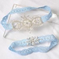 Blue lace garter set wedding garters Lace garter wedding