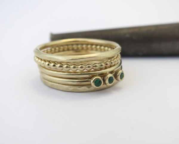 14k Gold Stacking Rings. Set Of 5 Stackable
