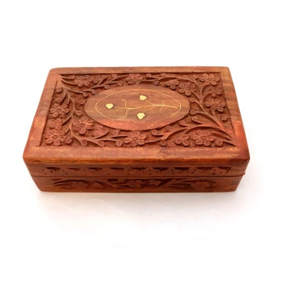 Wooden Box With Brass Inlay, Wooden Jewelry Box, Ornate Wooden Box ...