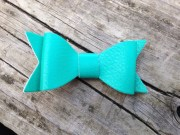 green leather hair bow faux