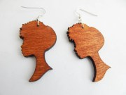 wooden earrings natural hair jewelry