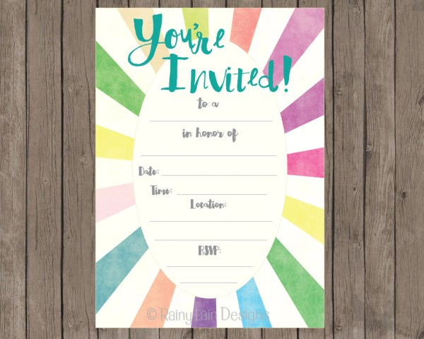 Fill In Printable Party Invitations Instant Blank