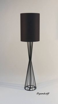 Handmade floor lamp with drum cylinder lampshade made from