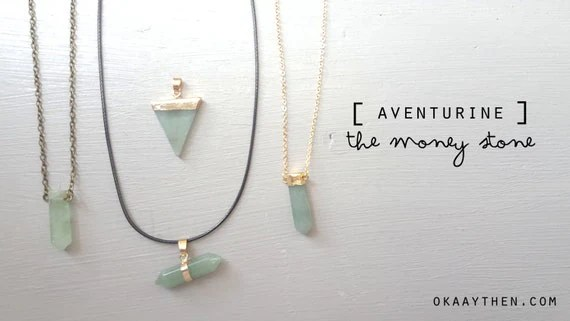 Green Healing Crystal Aventurine Money & Success Gemstone Necklace In Three Designs (Choker, Gold Dipped Bullet Pendant, Vintage Gold)
