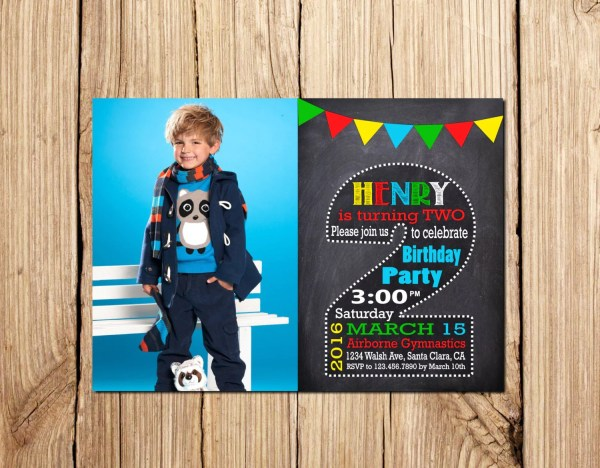2nd Birthday Invitation Boy Halkboard
