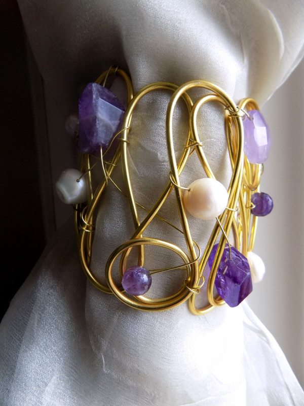 Decorative Curtain Tiebacks Golden With Stones And Pearls