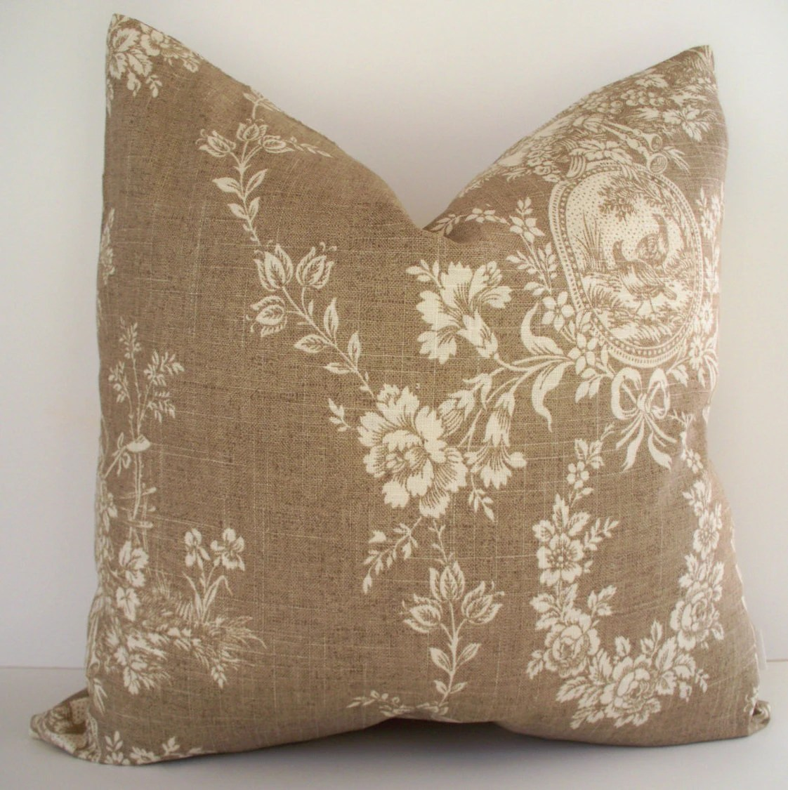French Country Toile Pillow Waverly Floral Tan Waverly