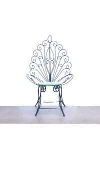Vintage Chair Black Metal Peacock Fan Chair