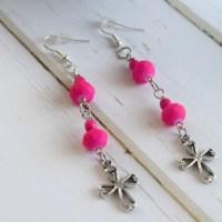 Hot Pink Cross Earrings Jewelry Cross Jewelry Earrings Pink