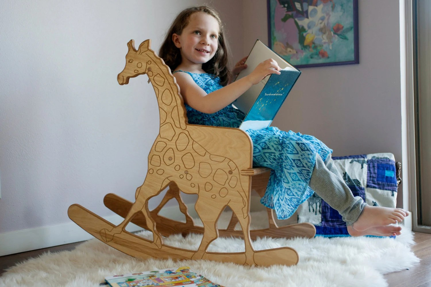Giraffe Rocking Chair Wooden Giraffe Childs Rocking Chair With Giraffe Print
