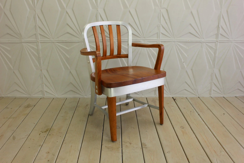 shaw walker chair modloft dining model 8312 wood aluminum arm mid century