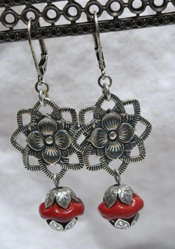Frida Kahlo Inspired Antiqued Silver Flower Earrings