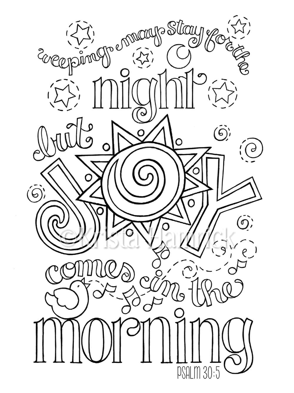 Joy Comes in the Morning coloring page in two sizes: 8.5X11