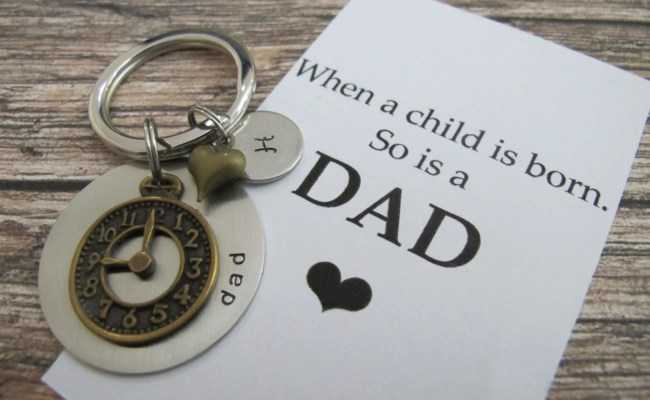 First Time Dad Quote Personalized Initial Keychain New Dad