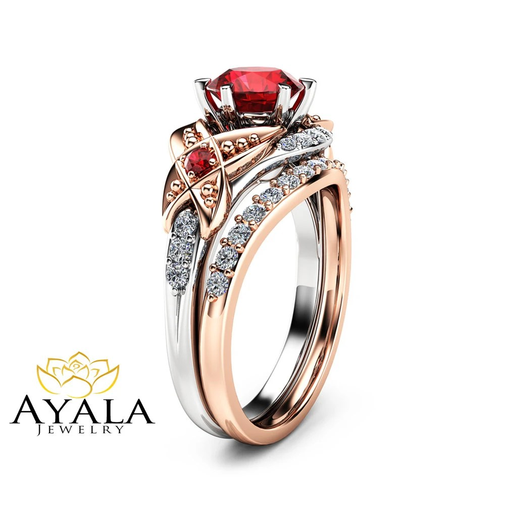 Leaf Ruby Engagement Ring Set 14K Two Tone Gold Engagement