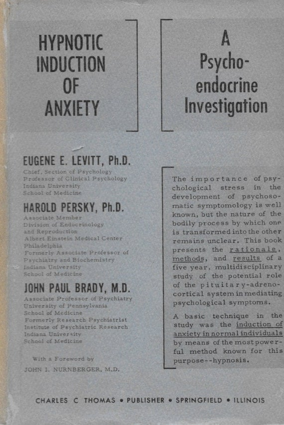 Hypnotic Induction of Anxiety HB Book 1960s Strange Psychiatry