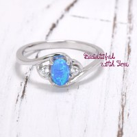 Dainty Blue Opal Ring Lab Created Opal Promise Ring Ring