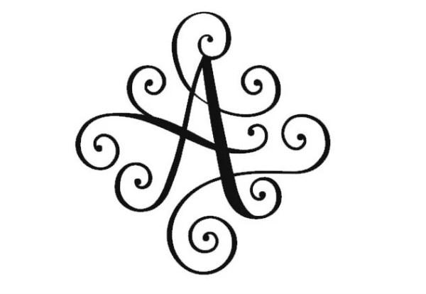Scroll Monogram Letter Elegant Monogram Decal Fancy by