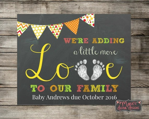 Download We're Adding A Little More Love To Our Family Printable