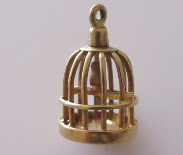 9ct Gold Bird In Cage Charm Pendant