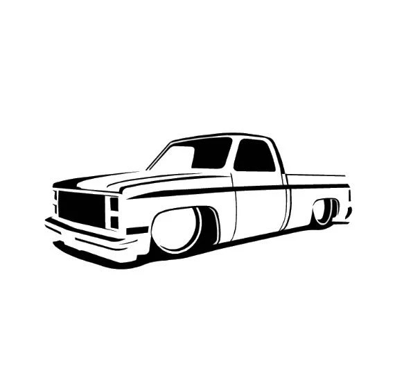 73-87 Chevy Truck Slammed Lowrider Dropped C10 Decal Choose