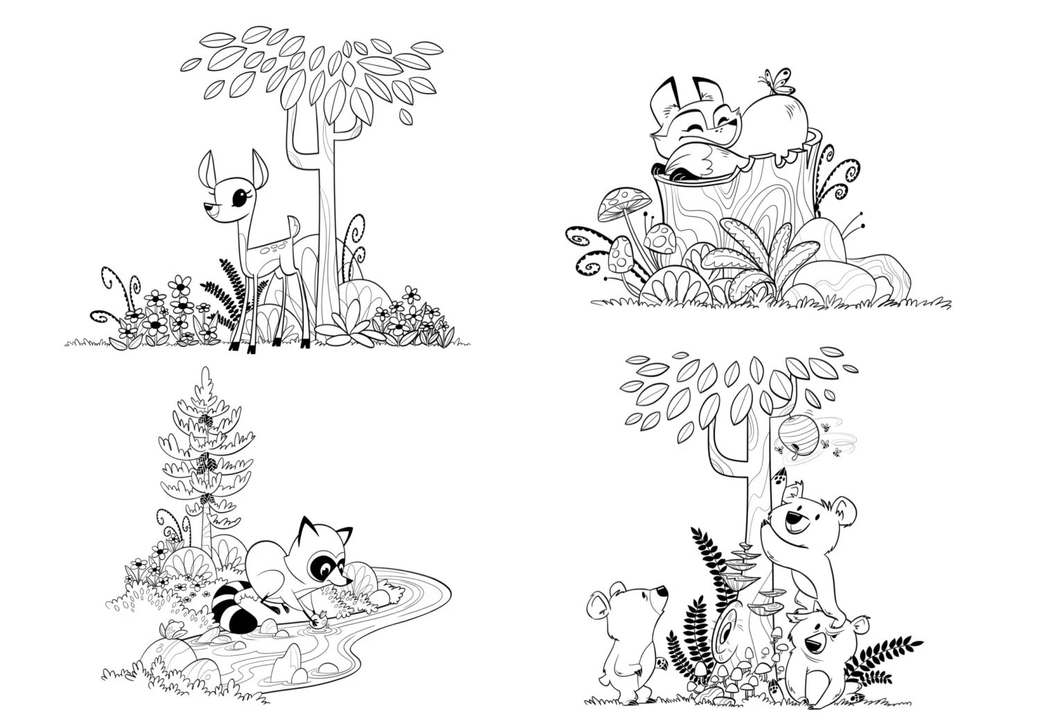 Woodland Forest Animals Coloring Pages for Children and Adults