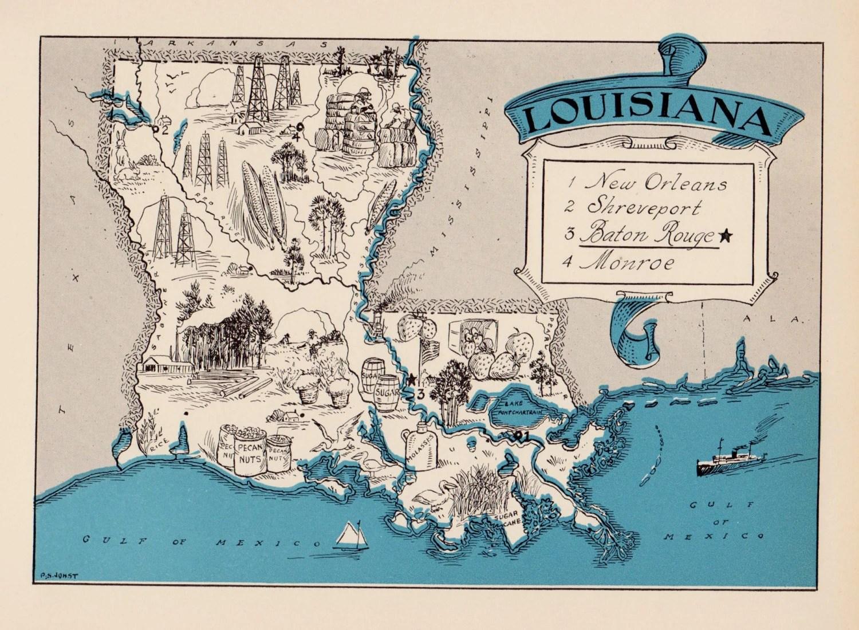 30 S Whimsical Louisiana Map Of Louisiana State Map Print