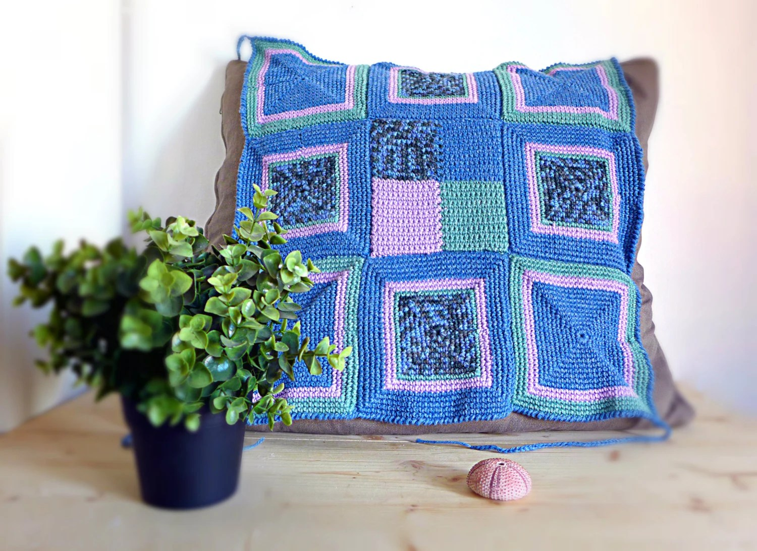 green chair covers sorbus hammock stand instructions crochet cover in mauve blue handmade shabby chic