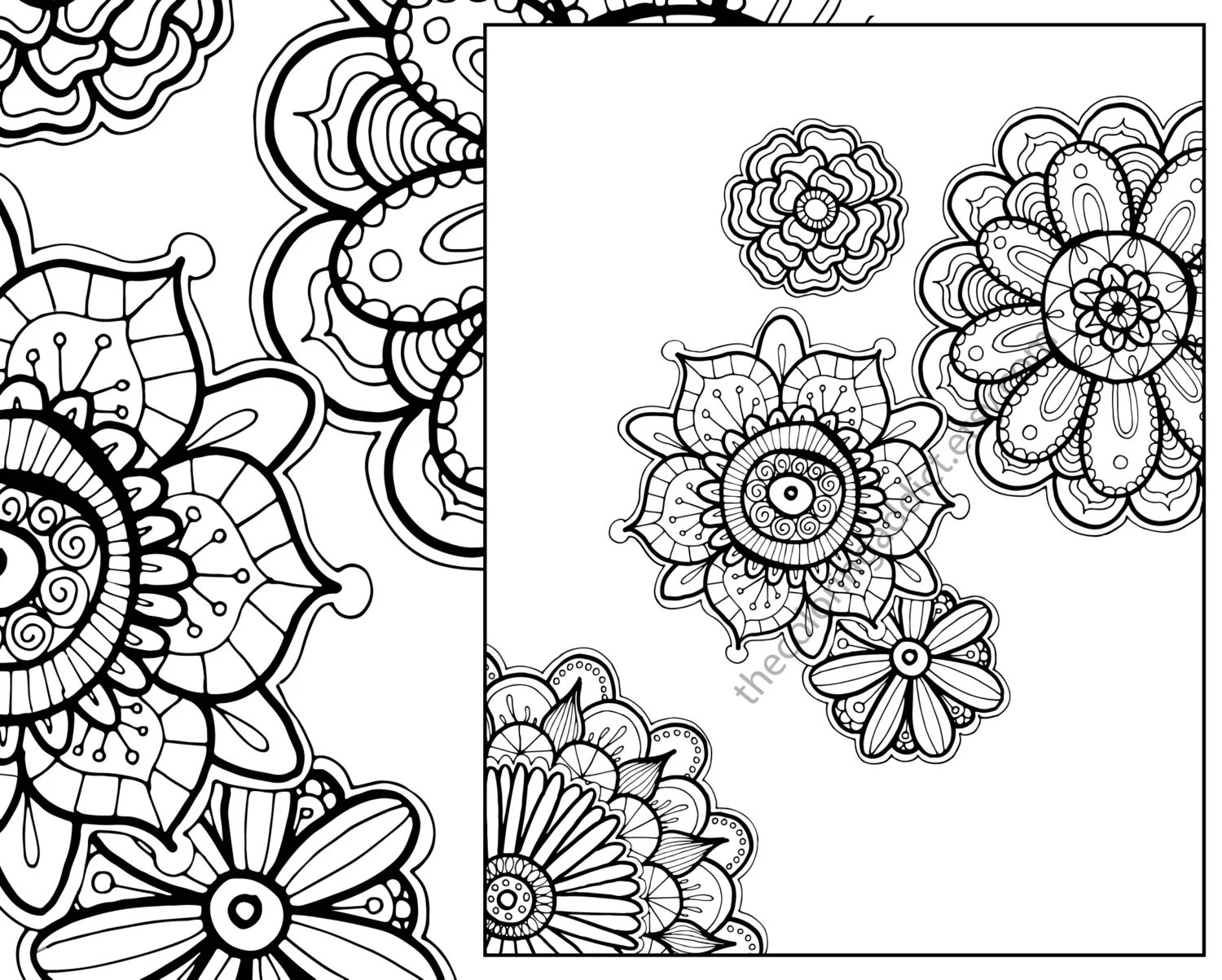 henna flower adult coloring sheet instant coloring pdf