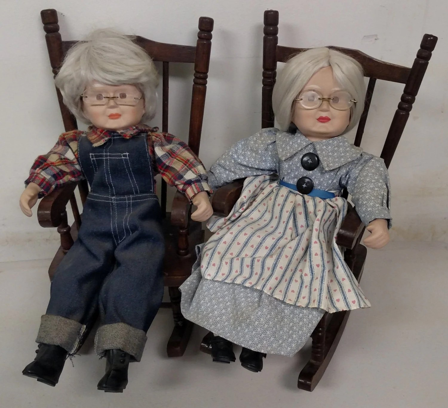 grandma rocking chair cover seat corners and grandpa porcelain dolls on wooden chairs