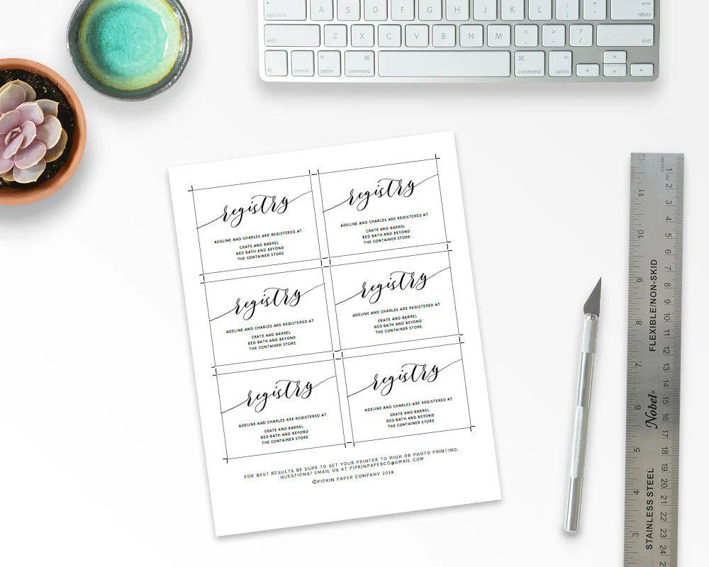 wedding registry cards template