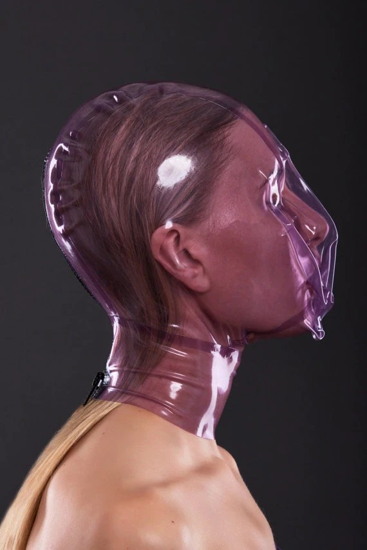 Ecstasy mask with breath control hole by BrightAndShinyLatex