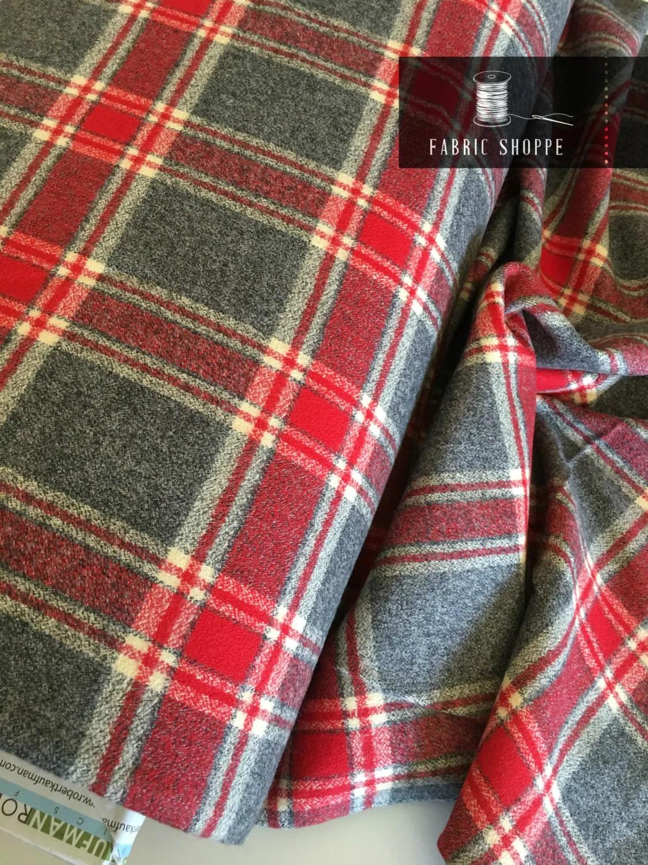 Flannel Fabric, Mammoth Plaid Flannel, Buffalo Plaid, Red