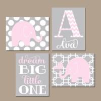 Girl ELEPHANT Nursery Wall Art Pink Gray Nursery Baby Girl