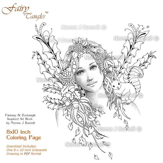 Autumn's Dream Fairy Tangles Adult Coloring by FairyTangleArt