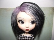 black with purple frosted highlights