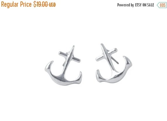 70% OFF SALE ANCHOR silver >> tiny nautical stud earrings