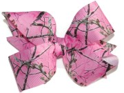 pink camouflage hair bow camo