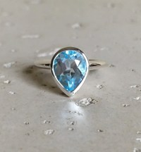 Blue Topaz Ring December Birthstone Ring Promise Ring for