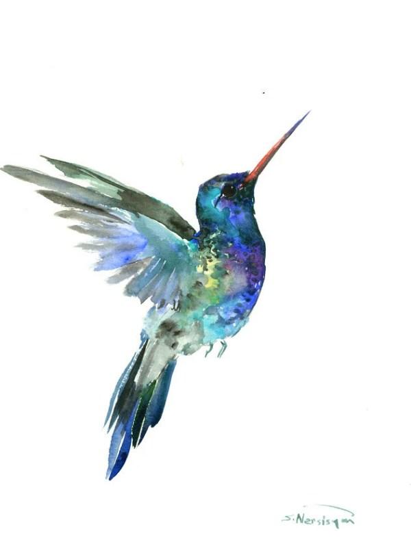 hummingbird painting 14 x 11inbright