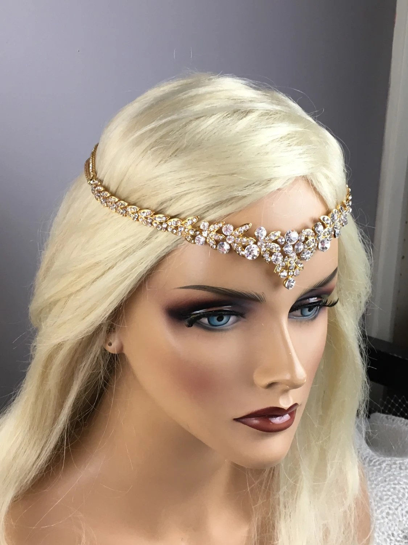 Bridal Gold Leaf Rhinestone Headband Art Deco V Shaped