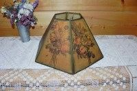 Parchment Paper Paneled Hexagon Floral Lamp Shade For