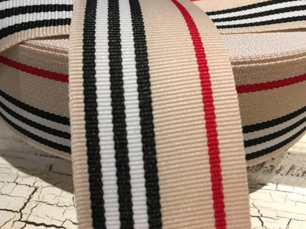 1.5 Preppy Tan Red And Black Stripe Grosgrain Ribbon