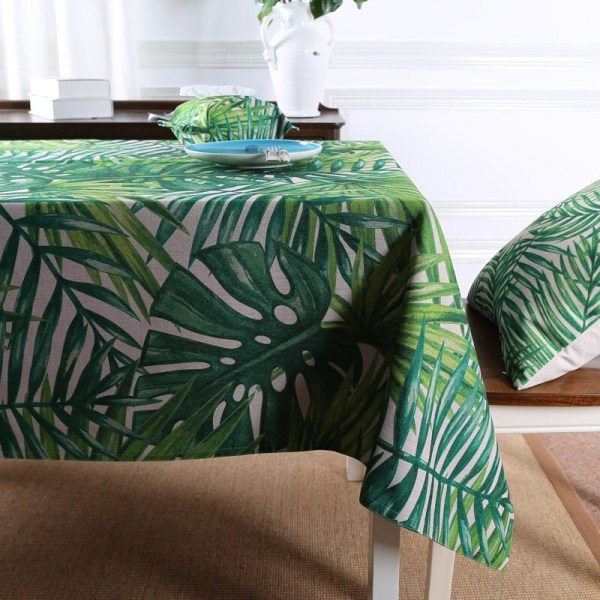 Tablecloth Tropical Leaves Prints Table Linens With Custom