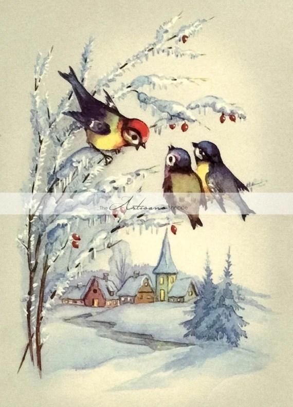 Instant Art Printable Download Vintage Christmas Snow Birds