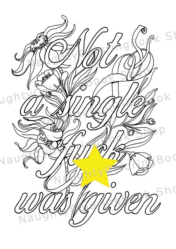 Printable Swear Coloring Page Funny Birthday Gift Swear Word