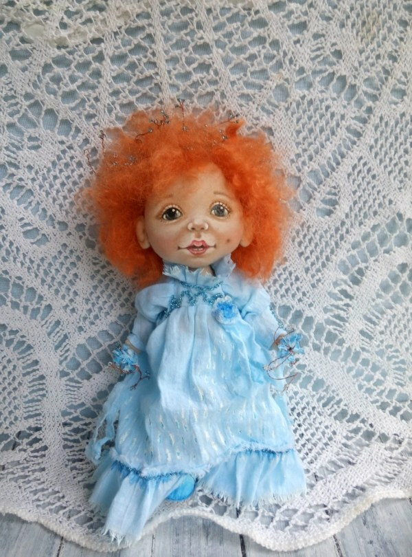 Ooak Art Doll Sunny Cloth With Red Hair Textile