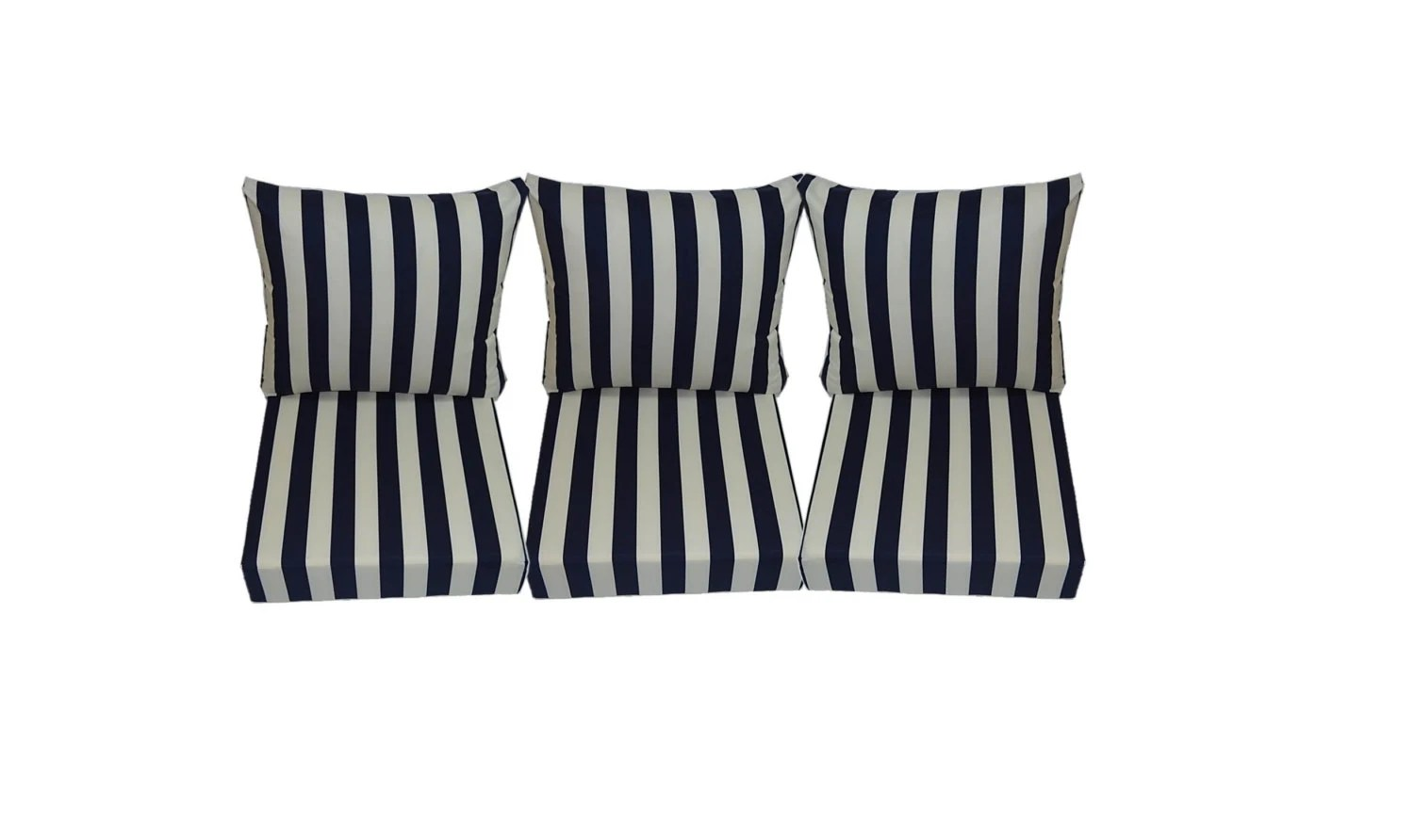 navy blue patio chair cushions revolving without arms price and ivory stripe for outdoor deep