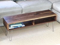 Mid Century Modern Coffee Table with Stainless Hairpin