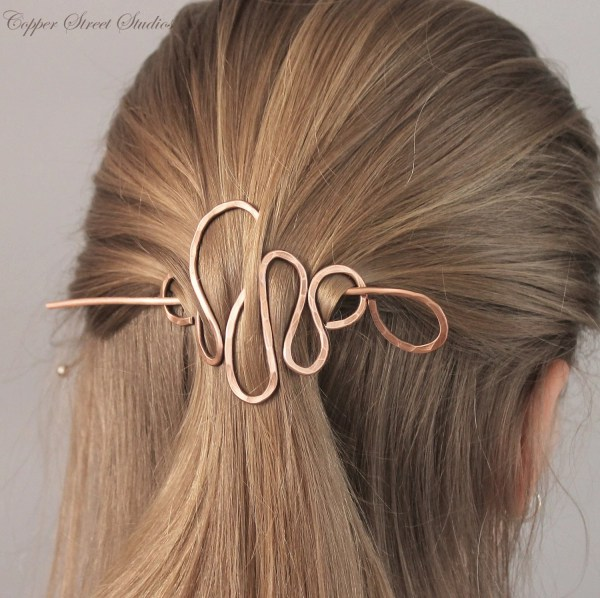 Copper Hair Stick Barrette Metal Clips Women Hammered